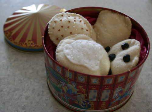 Homemade felt biscuits, January 2009