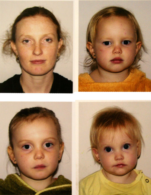 Lauren, Brioni, Aisha and Calista's passport photos, April 2009