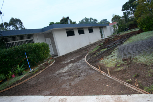 Before the concrete driveway was poured, June 2009