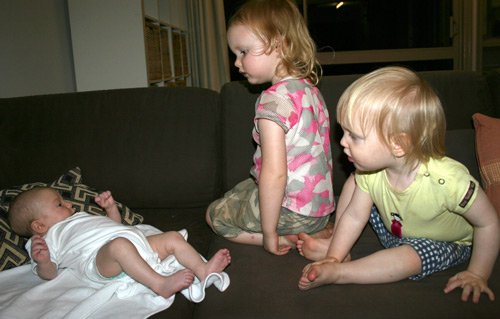 Amelie, 7 weeks old, + Brioni, 2yo, + Calista, 16 months old, August 2009