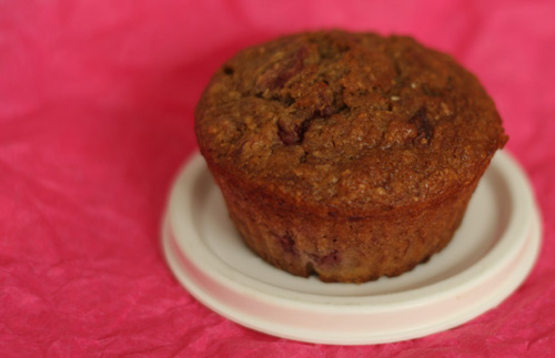 Banana and strawberry muffin