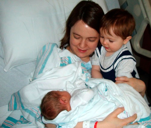 Marisa with Ian (16 mo) and Evan, born April 13.