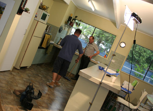 John & David on location in our house