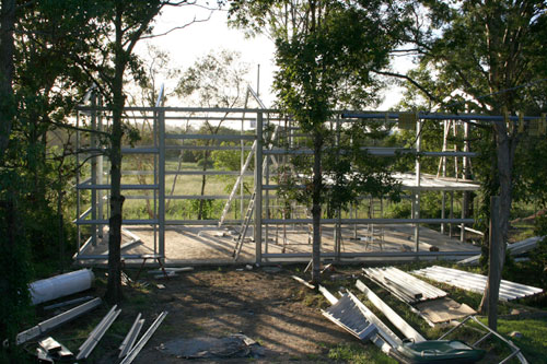 Shed construction, February 2006