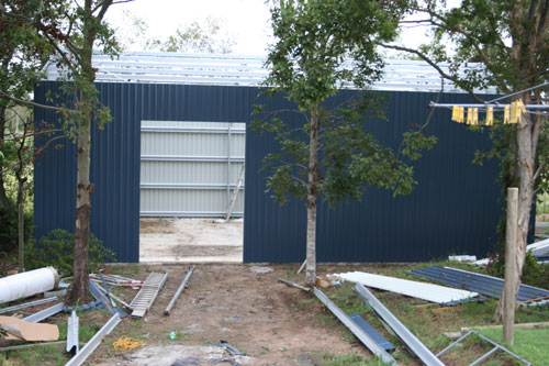 Shed construction, March 2006