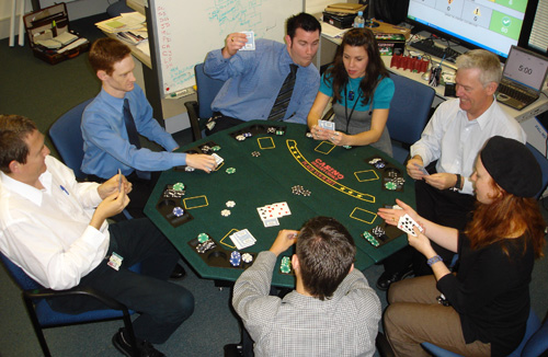 Playing poker at lunchtime