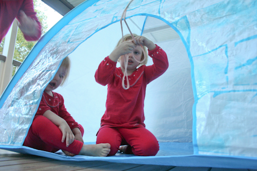Girls playing in tent, July 2010