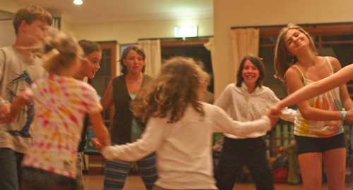 Bush dancing at Australia's first unschooling retreat, September 2010