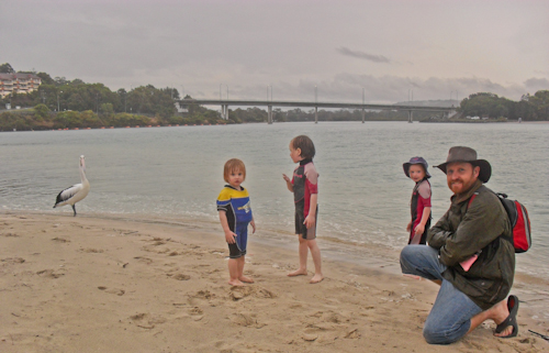 David and the girls at Tallebudgera, September 2010