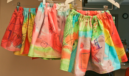 Colourful artwork skirts, September 2010