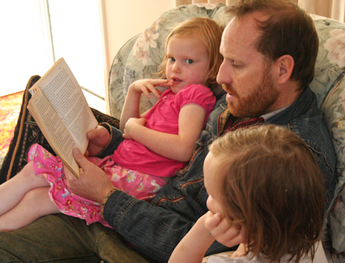 David reading to Brioni and Aisha, October 2010