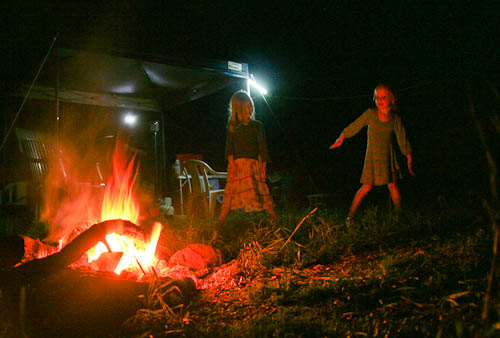Dancing by the fire at Heifer Creek, November 2010