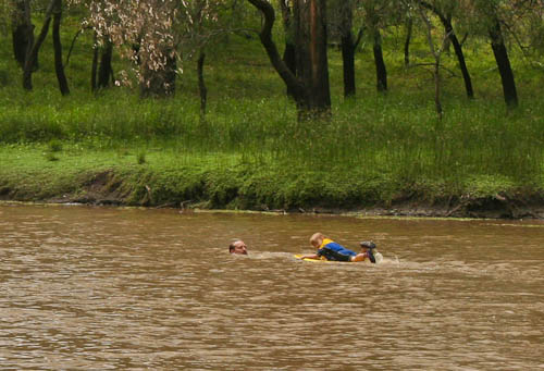 Swimming in the Condamine, November 2010