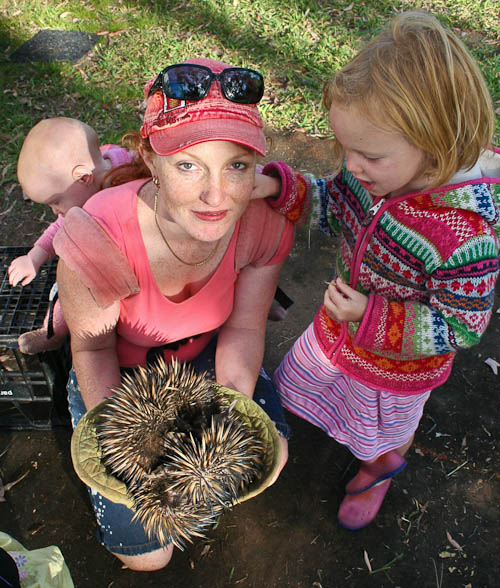 Lauren with the echidna, November 2010