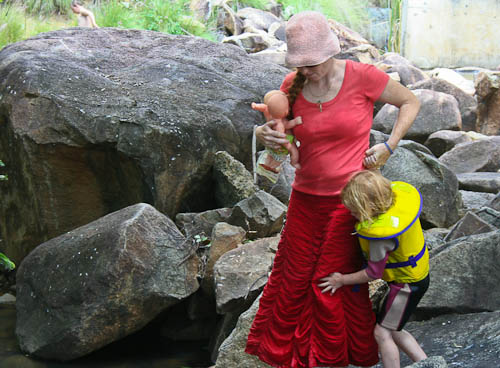 Playing at No. 7 dam, Mount Morgan, November 2010