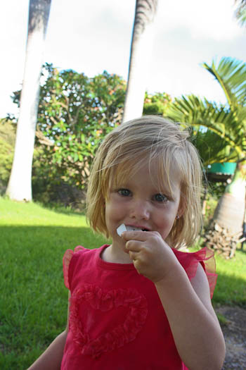 Calista eating coconut, November 2010