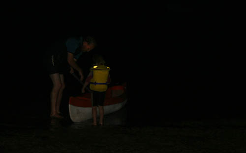 Canoeing at night, November 2010