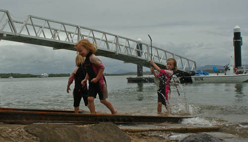 Playing in the water, November 2010