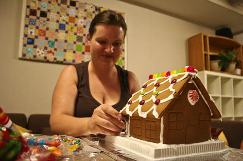 Sharla making gingerbread houses, December 2010