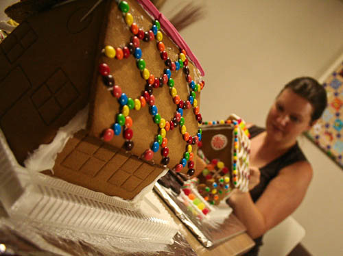 Making gingerbread houses, December 2010