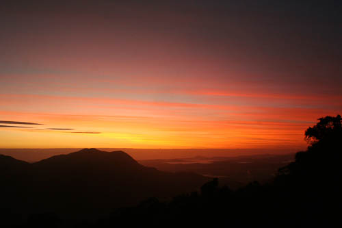 Sunrise from Dorrigo Plateau, looking towards the ocean, January 2011