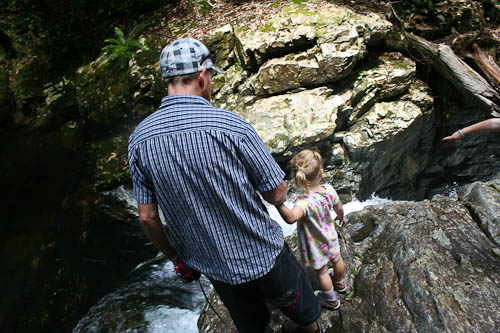 David and Calista, looking at Coachwood Falls in Dorrigo National Park, January 2011
