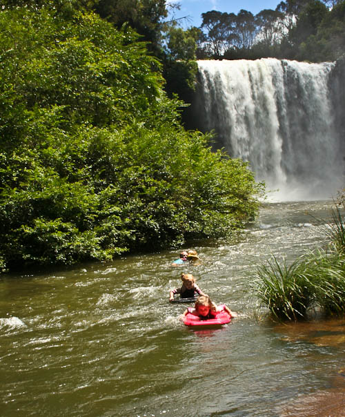 Swimming at the base of Dangar Falls, January 2011