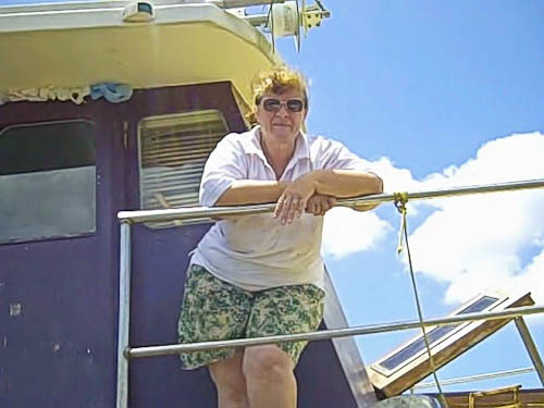 Marie on the houseboat, January 2011