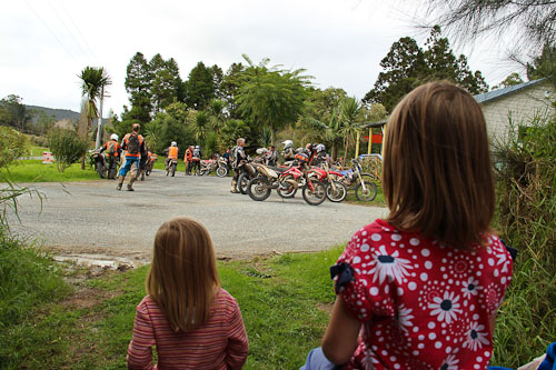 Calista and Aisha watching the bikies at Bush Fairy Dairy, May 2011