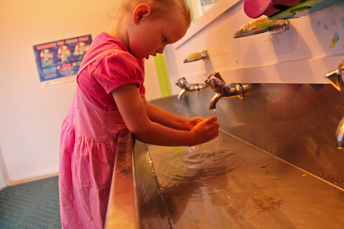 Brioni washing her hands, June 2011