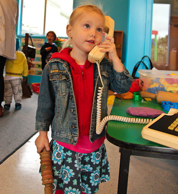 Calista on the phone, June 2011