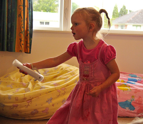 Playing the Wii, June 2011