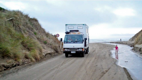 Driving onto Baylys Beach, August 2011