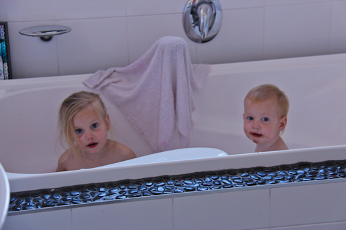 Calista and Dell in the bath, August 2011