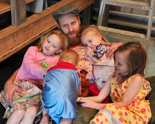 David with his four daughters, September 2011