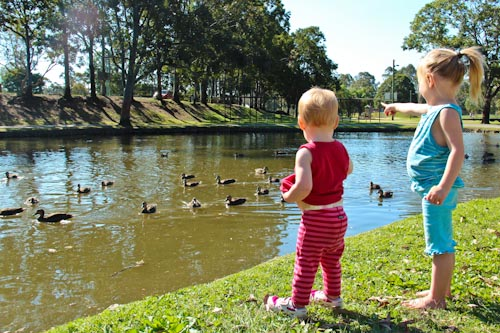 Delaney and Calista watching the ducks, September 2011