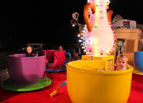 Girls on the tea-cup ride at the Beenleigh Show, September 2011