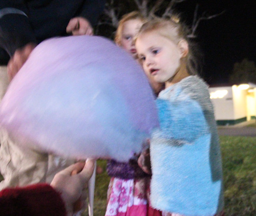 Eating fairy floss at the Beenleigh Show, September 2011