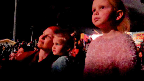Watching the fireworks at the Beenleigh Show, September 2011