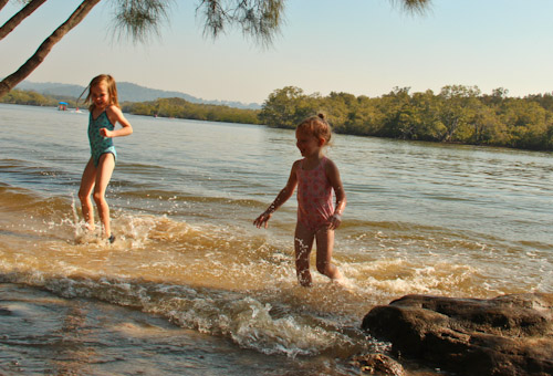 Aisha and Brioni playing in the Maroochy River, September 2011