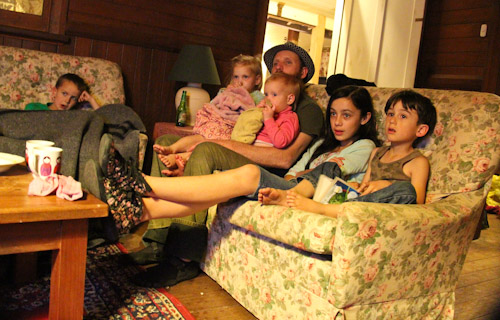 David watching TV with Delaney and Calista and friends, September 2011