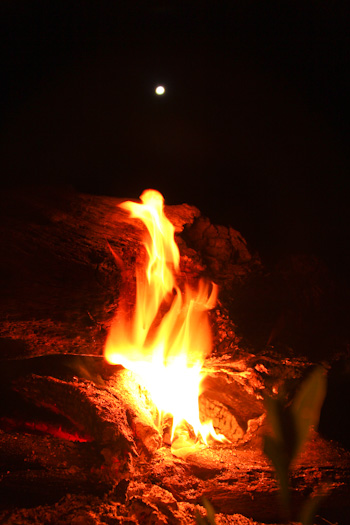 Fire and full moon, October 2011