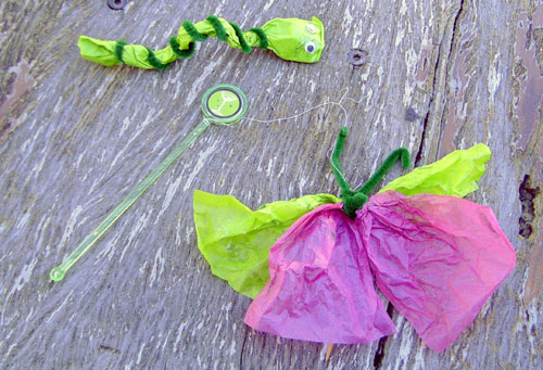 Craft idea: caterpillar & butterfly