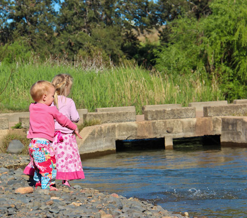 Delaney and Calista on banks of the Goulburn River, October 2011