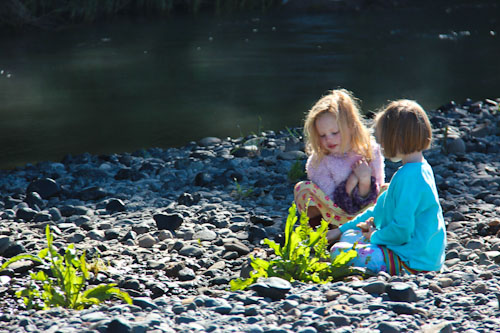 Aisha and Brioni on the banks of the Goulburn River, October 2011