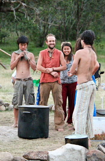 Preparing to serve the meal, Rainbow Gathering, November 2011