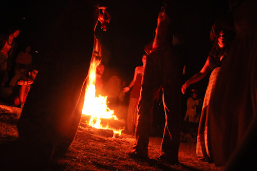 Dancing around the fire, Rainbow Gathering, November 2011