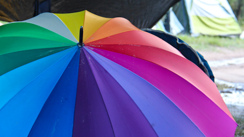 Rainbow umbrella, Rainbow Gathering, November 2011