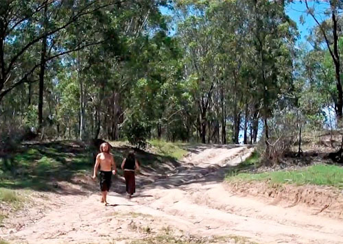 Olly and Raz leaving, Rainbow Gathering, November 2011