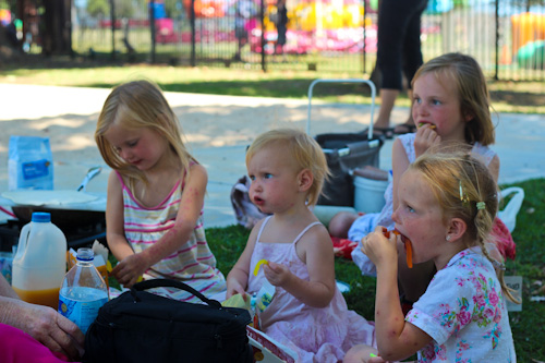 Our girls eating lollies, January 2012